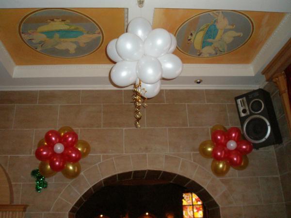 Тучка из шаров и цветочки